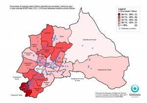 Reception Overweight and Obese by ward with takeaway locations