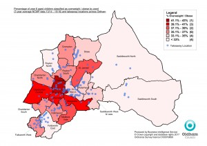 Year 6 Overweight and Obese by ward with takeaway locations